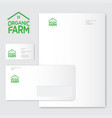 green farm organic food emblems logo identity vector image