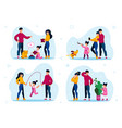 happy childhood parents routines flat set vector image
