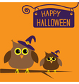 Happy Halloween card with owls vector image