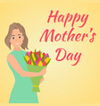 happy mothers day woman with beautiful colorful vector image vector image