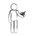 human figure with drone control vector image vector image