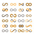 infinity icons contouring shapes eternity vector image