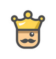 king with a crown icon cartoon vector image vector image