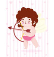 love cute little cupid with arrow bow and hearts vector image