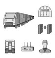 metro subway monochrome icons in set collection vector image