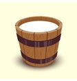 Milk in wooden bucket vector image vector image