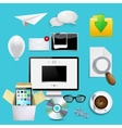 modern icons set business background vector image vector image