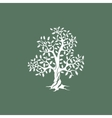 oak tree silhouette on green background vector image vector image