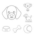 pet dog outline icons in set collection for design vector image vector image