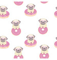 pink seamless pattern with funny french bulldog vector image vector image