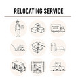 relocation service isolated hand drawn doodles vector image vector image