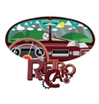 Retro car in front mirror vector image