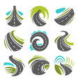 road or driveway path isolated icons set vector image