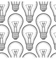 seamless pattern glowing light incandescent bulb vector image