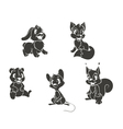 set animal silhouettes vector image