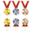 set awards golden silver and bronze medals vector image vector image