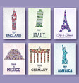 set of art ornamental travel and architecture on vector image vector image