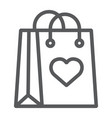 shopping bag with heart line icon love and vector image vector image