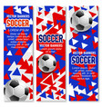 soccer ball 3d banner of football sport game club vector image vector image