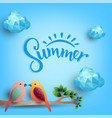 summer day birds on branch from polygonal shapes vector image vector image