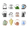teapot and kettle teakettle or samovar to vector image