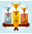 Trophies On Podium vector image vector image