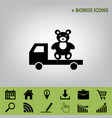 truck with bear black icon at gray vector image vector image