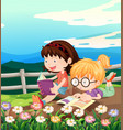 two girls reading book in garden vector image vector image