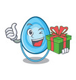 with gift oxygen mask mascot cartoon vector image
