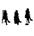 women silhouette sitting on chair vector image vector image