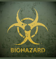 yellow biohazard symbol on a green military vector image