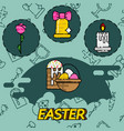 easter flat concept icons vector image