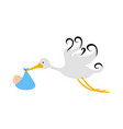 stork carrying a baby in a bag vector image