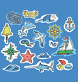 hand-drawn stickers of marine theme vector image