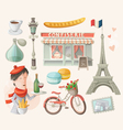 Set of french items vector image