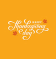 thanksgiving day lettering on orange background vector image