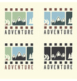 adventure film tape vintage set vector image vector image