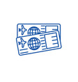 airplane tickets line icon concept airplane vector image