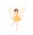 beautiful fairy in yellow dress and with butterfly vector image vector image