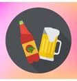Bottle mug beer flat icon vector image
