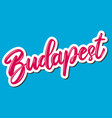 budapest capital hungary lettering phrase on vector image