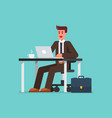 business man working on a laptop computer vector image vector image