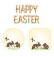 buttons happy easter rabbits and easter egg vector image vector image