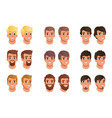 cartoon set of men avatars with different hair vector image