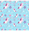 christmas seamless pattern with unicorns fir vector image vector image
