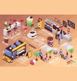 coffee house isometric infographics vector image vector image