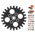 cogwheel icon with lovely bonus vector image vector image