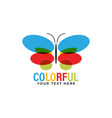 colorful butterfly logo design template isolated vector image vector image
