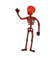 comic cartoon waving skeleton vector image vector image