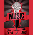 concert party flyer poster design with microphone vector image vector image